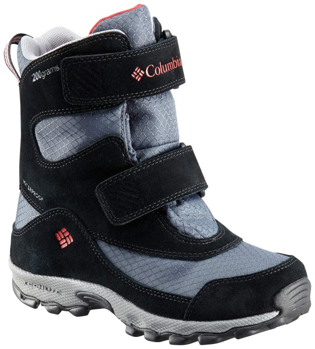 Columbia Boys' Youth Parkers Peak Velcro Waterproof Winter Boot Snow, Graphite, Bright red, 7 Regular US Big Kid