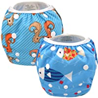 ALVABABY Swim Diapers Reuseable Washable Adjustable 0-36 mo.For Infants Toddlers Boys Girls 2 Pack One Size Swimming Lesson Baby Shower Gifts SW07-08-CA