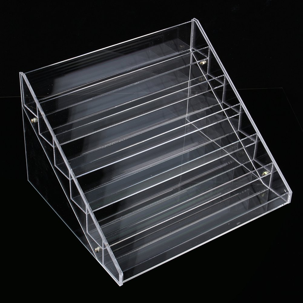 GOTOTOP Acrylic Cosmetic Organiser, 6 Tier Nail Polish Varnish Display Stand Holder Cabinet