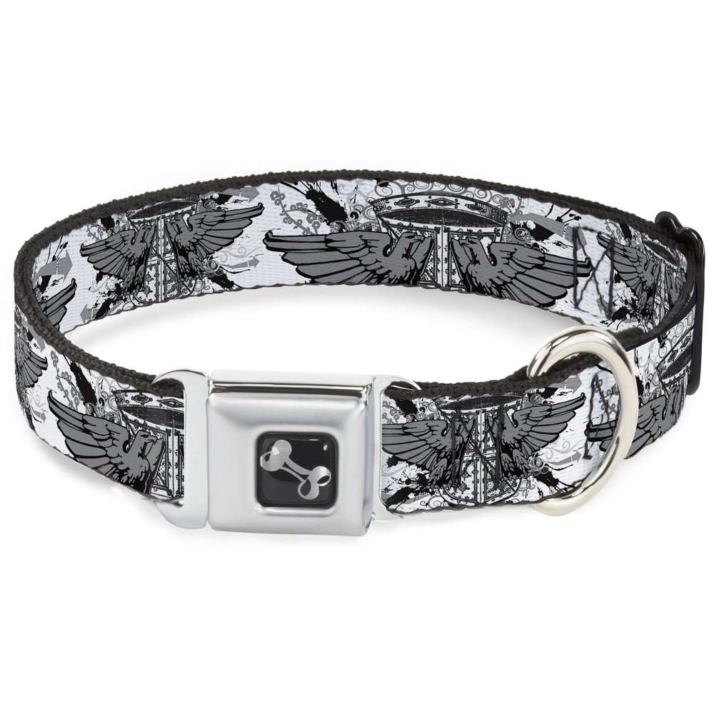 Buckle-Down Seatbelt Buckle Dog Collar Phoenix Shield White 1  Wide Fits 9-15  Neck Small