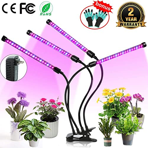 Upgraded Grow Light, 4 Heads 72pcs LEDs Plant Light for Indoor Plants, Auto ON Off Full Spectrum Plant Grow Light, 3 6 12H Timer 5 Dimmable Levels Growing Lamp for Garden Seedling Herbs Succulents