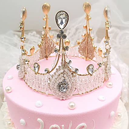 Pueri Crown Cake Topper Birthday Decoration Mini Princess For Kids Themed Baby Shower