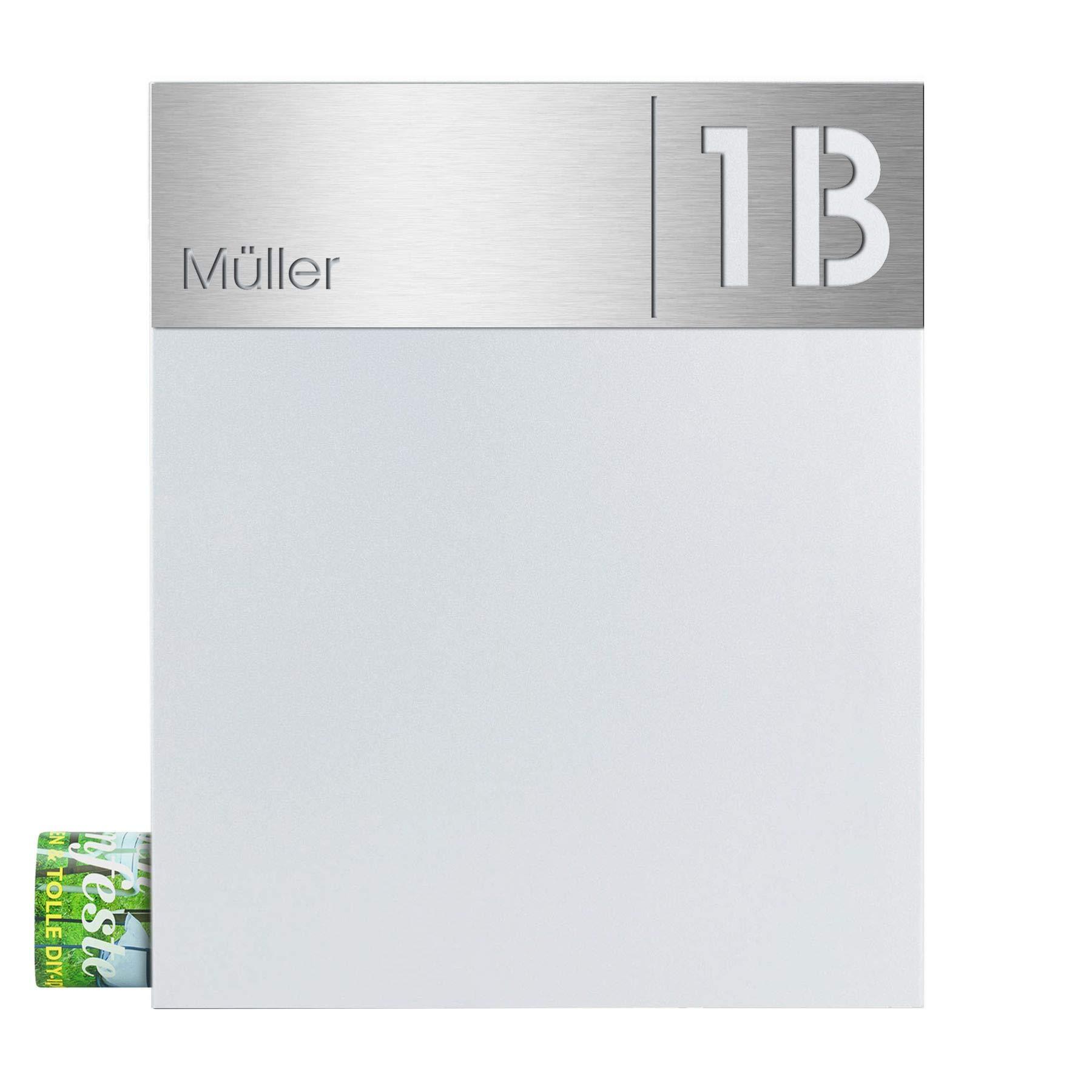 modernes Design MOCAVI Stick 230 Briefkastenschild mit Hausnummer und Namen Edelstahl V4A graviert gro/ß selbstklebend