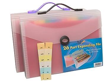 Tiger - Maletín archivador de plástico (tamaño A4, 26 compartimentos), color transparente: Amazon.es: Hogar