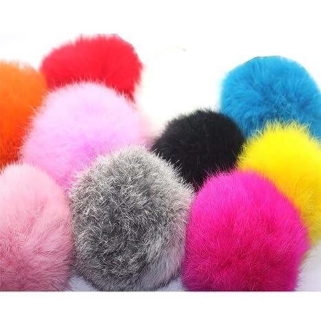 7a30582d4 10pcs 8cm DIY Real Rabbit Fur ball Furry Ball for Mobile Phone Tag, Handbag  Charm, Keychain U Pick