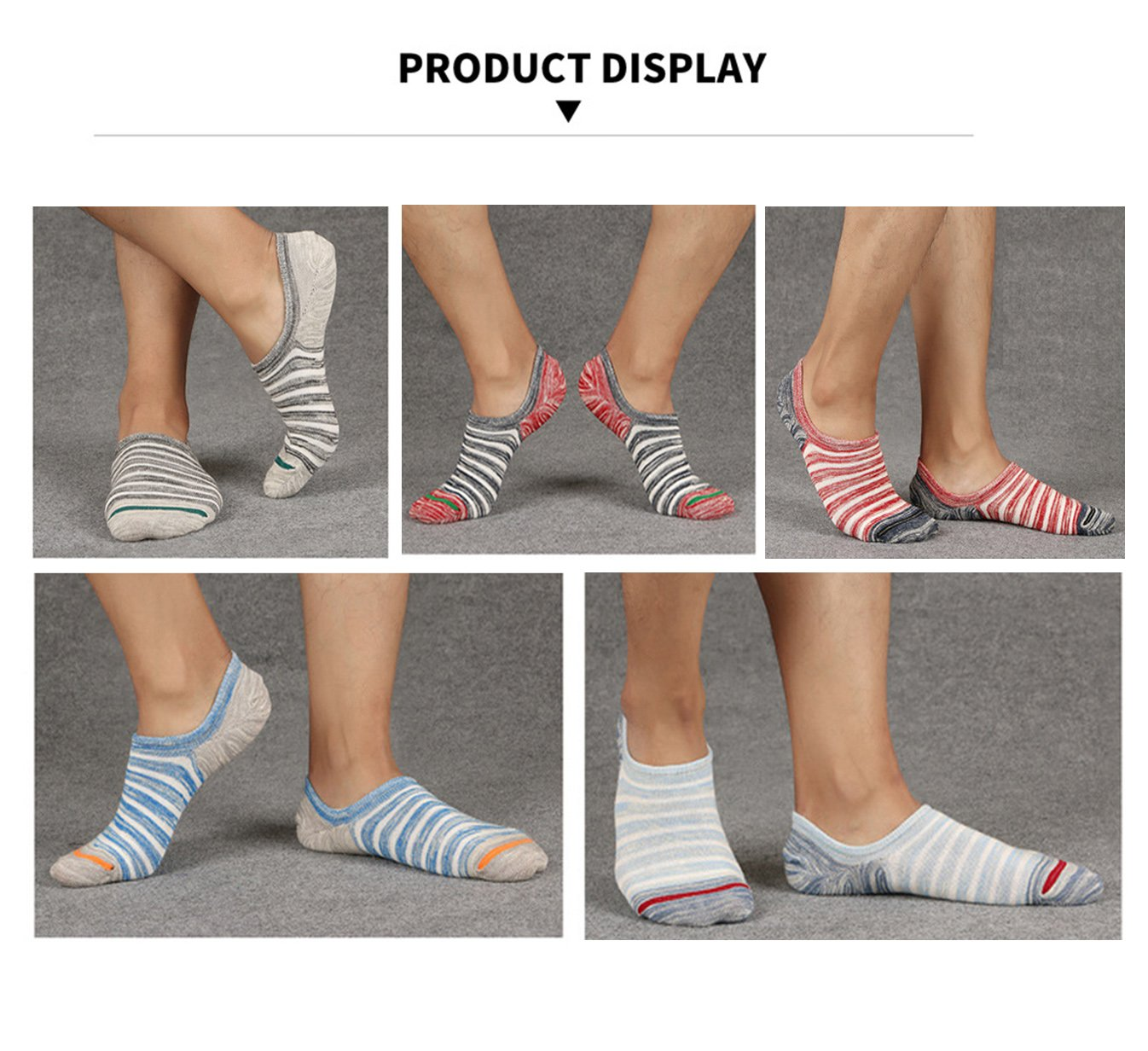 Spikerking Mens Stripe Low Cut Silicone Non slip Thin Socks 5 Pack,5 Pack-5 Color