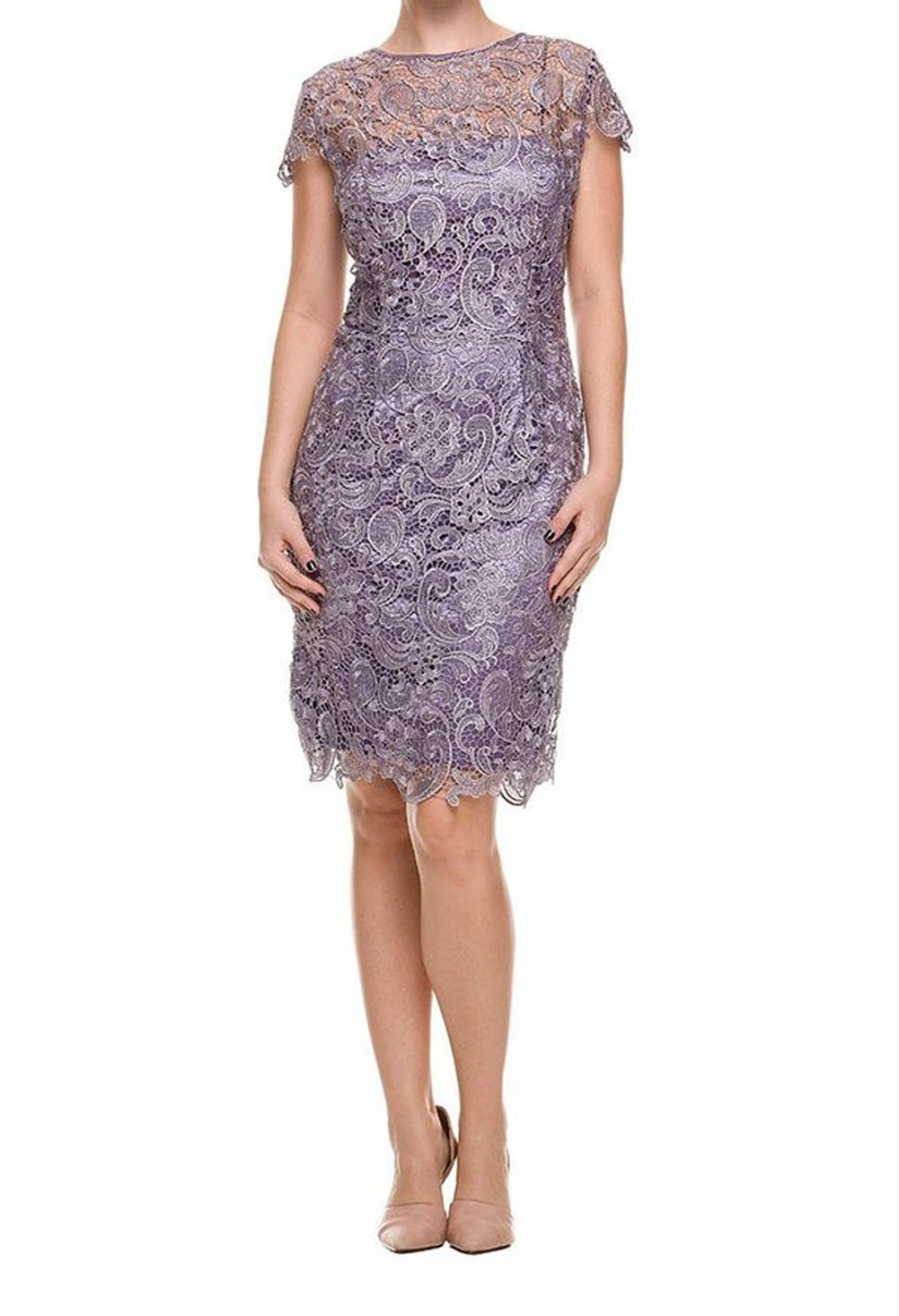 aaa65602bef3 Ruiyuhong Short Lace Prom Gown Cap Sleeve Mother of The Bride Dress  (12,Lilac)