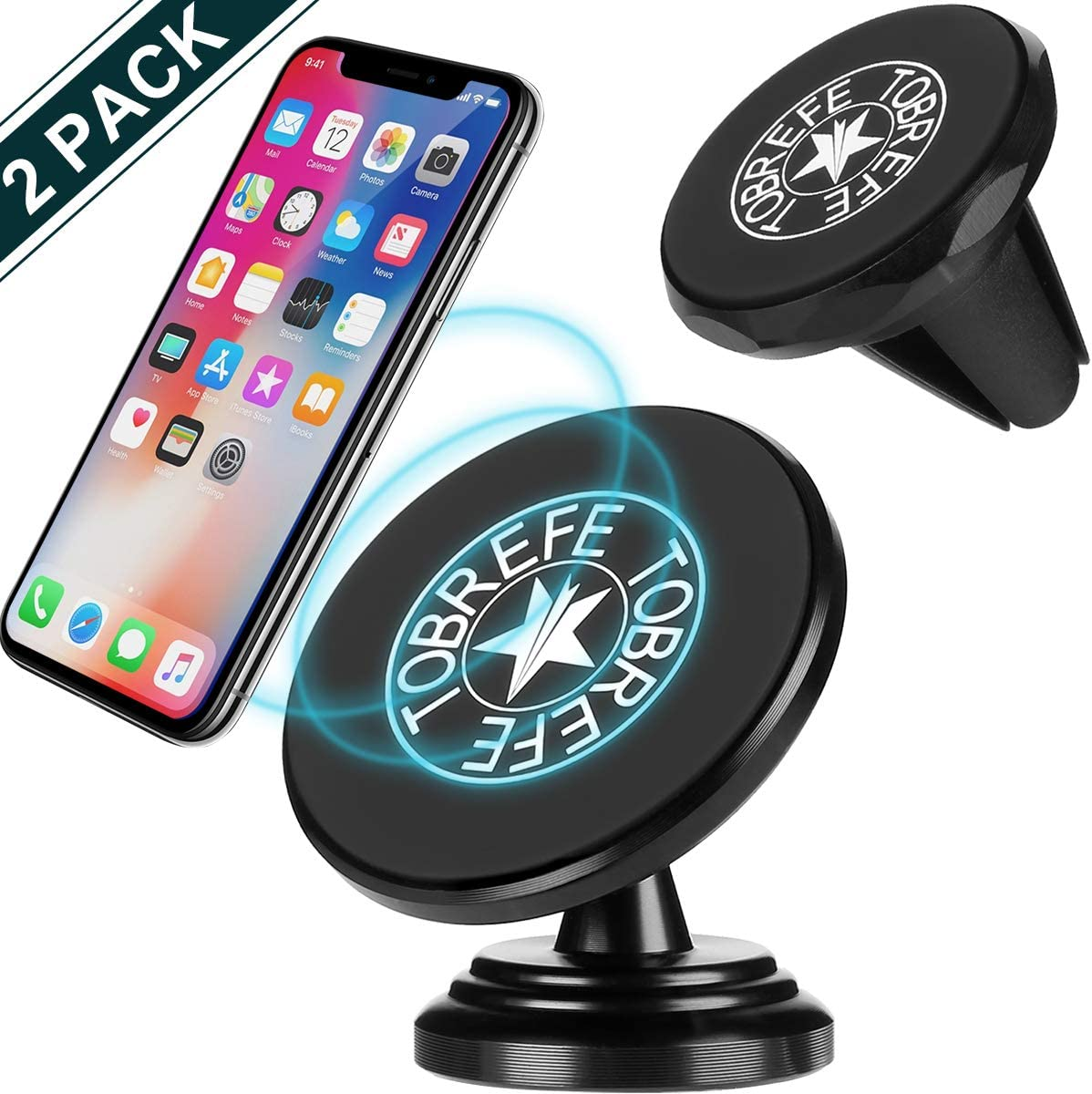 4 Metal Plates Magnetic Car Phone Mount Phone Holder for Car Air Vent Clip Grip and Dashboard Adhesive Mount 360/° Rotation Phone Magnetic Car Cradle Holder Compatible with All Phones and Tablets