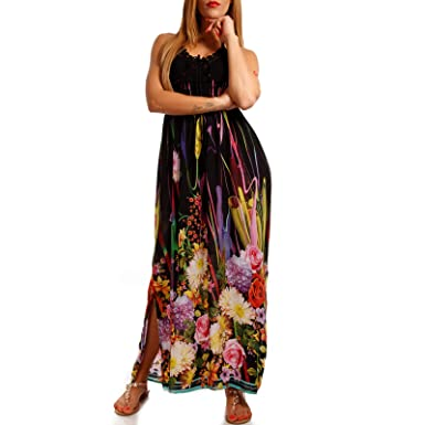 db0be799f124 Young-Fashion Damen Maxikleid Strand-Kleid Häkel Boho Hippie Kleid ...