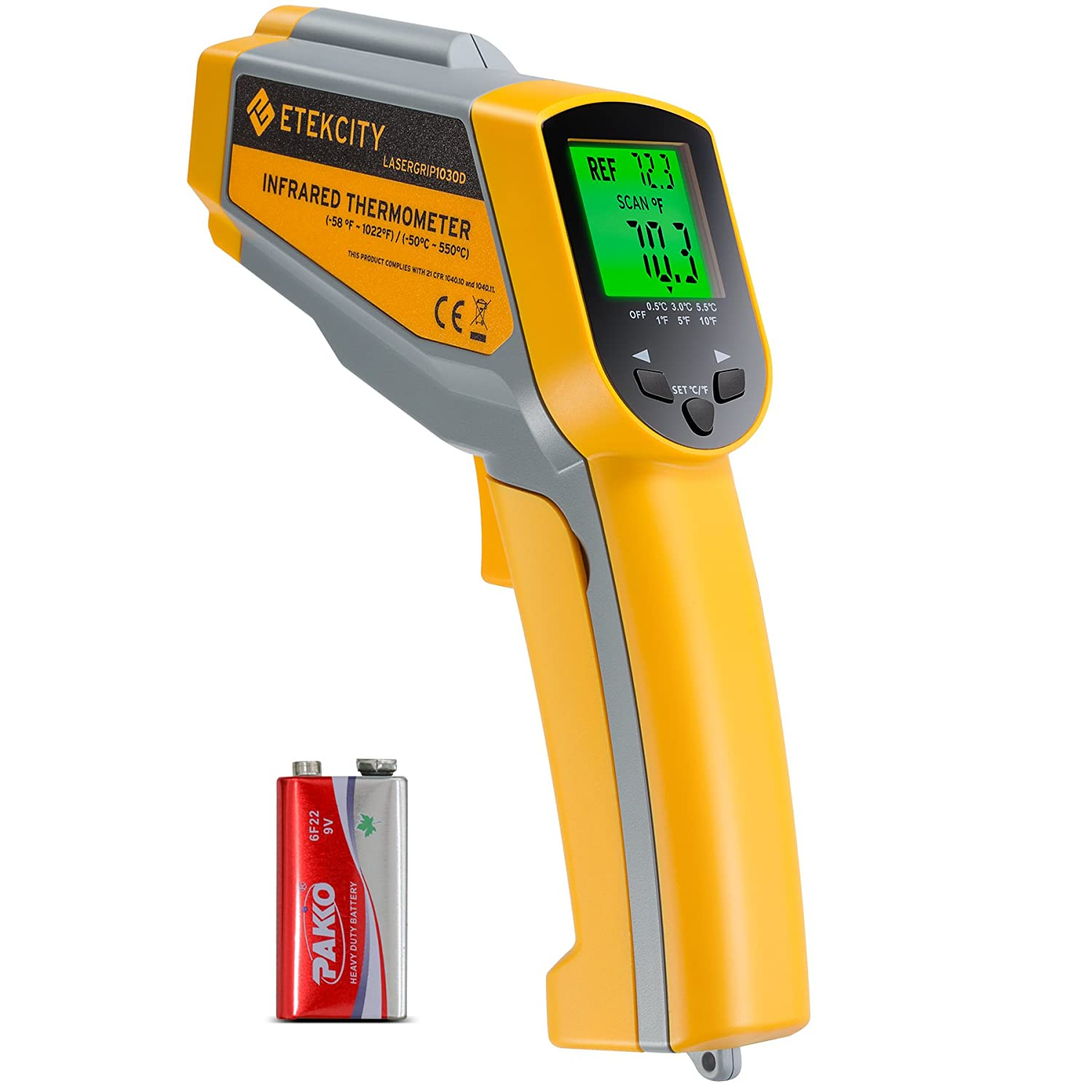 Etekcity Lasergrip 1030D Infrared Thermometer Digital Dual Laser Temperature Gun Non-contact with Temperature Filtering -58℉~1022℉ (-50℃ ~ 550℃)