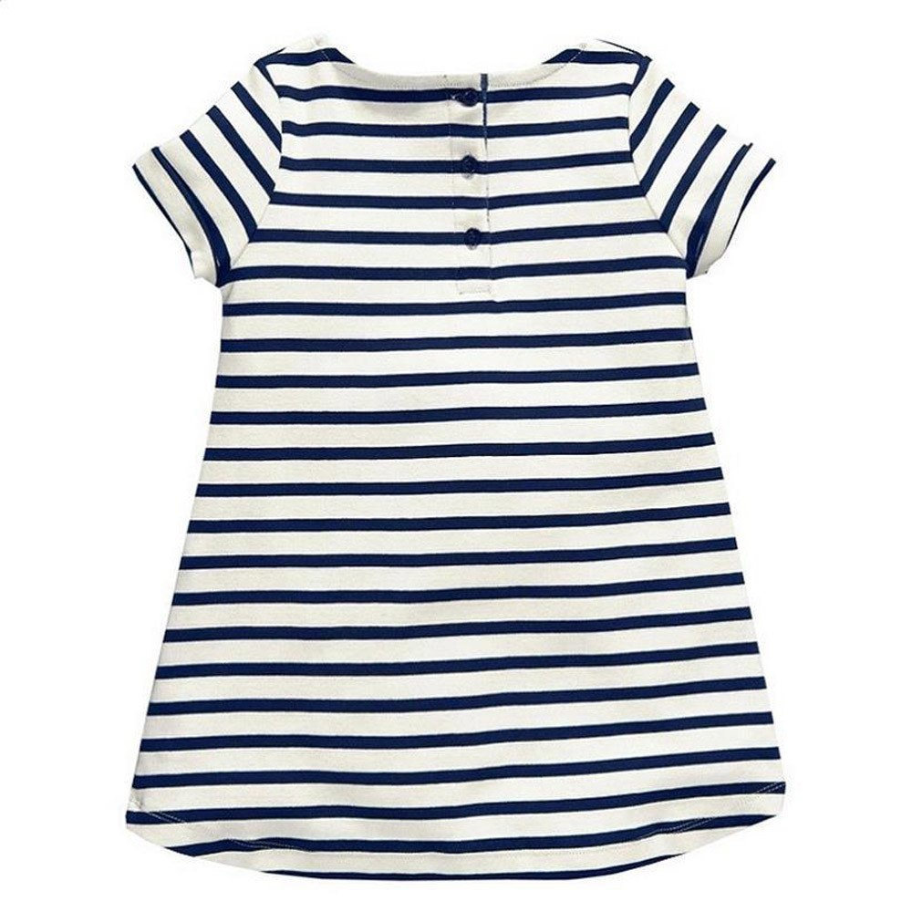 Heiner Summer Baby Girls Toddler Sundress Stripe Casual Dresses Outfit Clothes Dress(18 Month-5 Year)