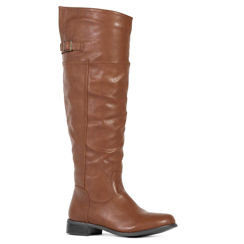 Medium Calf Tan-12 ROF Women's Fashion Comfy Vegan Suede Block Heel Side Zipper Thigh High Over The Knee Boots