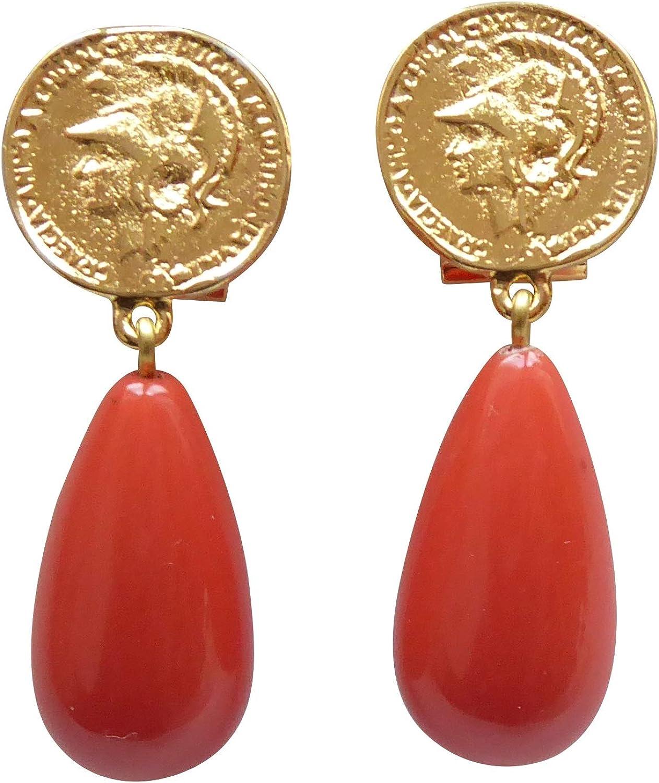 Pendientes chapados en oro muy grande con forma de moneda colgante coral rojo naranja gota de estilo moderno de Justwin