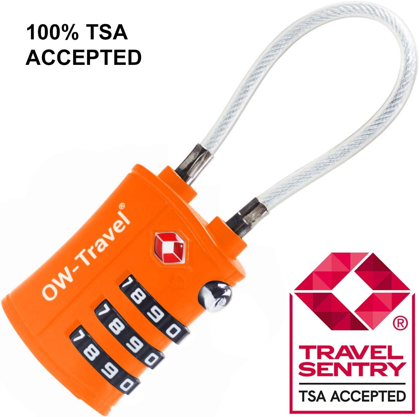 Cadenas Cable TSA pour Valise ANTIVOL Titan pour Bagages Casier Rangement Accessoire Voyage Avion: Verrou TSA a Combinaison 2 Pcs Noir Locker Serrure TSA Lock USA Code /à 3 Chiffres