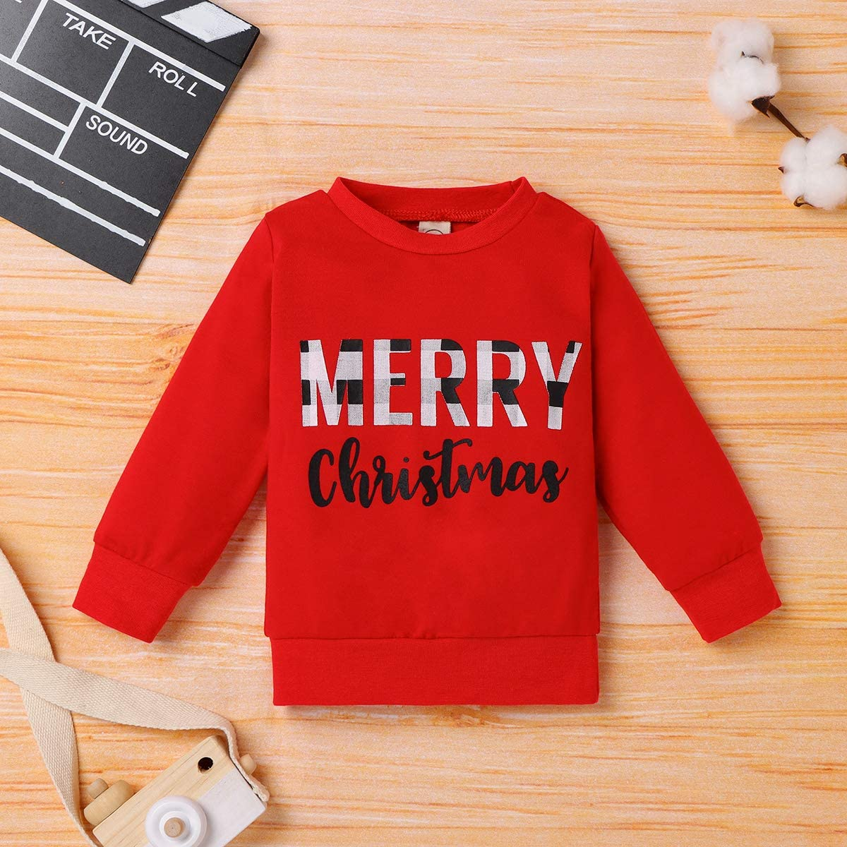 Infant Toddler Baby Girl Long Sleeve Shirts Merry Christmas Pullover Sweatshirt Tops Fall Outfit Casual Clothes