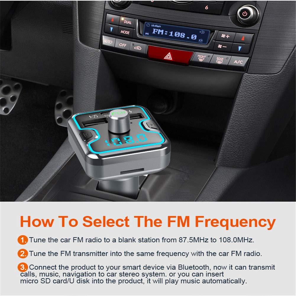 transmisor FM Bluetooth para autom/óvil WZHESS Adaptador Bluetooth para autom/óvil Receptor Bluetooth con Llamadas Manos Libres Tarjeta Microsd de Soporte Cargador para autom/óvil QC3.0