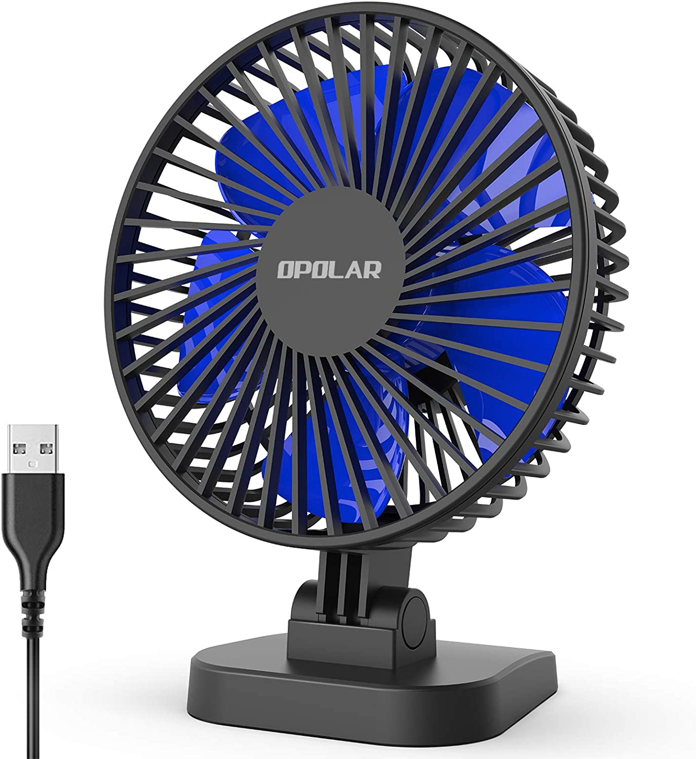 OPOLAR USB Desk Fan, Small but Mighty, Quiet Portable Fan for Desktop Office Table, 40° Adjustment for Better Cooling, 3 Speeds, 4.9 ft Cord: Home & Kitchen