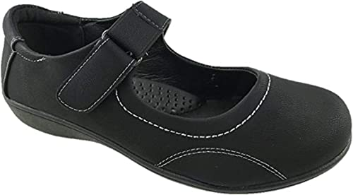 Ladies Faux Leather Mary Jane Low Wedge
