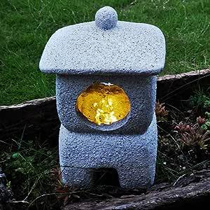 Jardín Linterna Japonesa Luz Energía Solar Para Patio Al Aire Libre Faro Jardín Villa Hotel Lámpara De Piedra De Talla De Piedra Zen China,D: Amazon.es: Hogar
