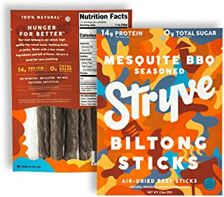 product image for Stryve Mini Snack Beef Sticks. 14g Protein, 0g Sugar, No Carbs, Gluten Free, No Nitrates, No MSG, No Preservatives. Keto and Paleo Friendly. Mesquite BBQ, 2.5oz 2-Pack