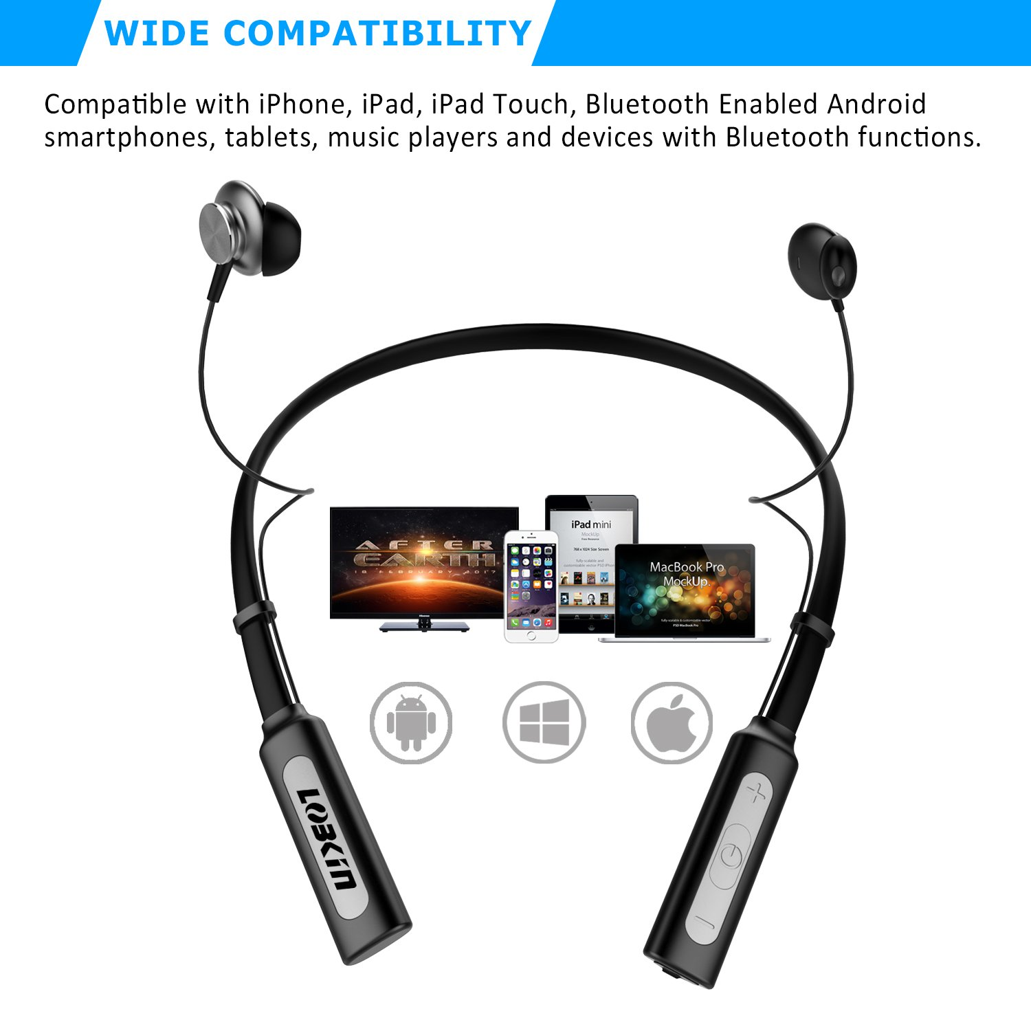 Ecandy Wireless Neckband Bluetooth Headset V4.1 Stereo Earbuds Vibration Sports Handsfree Headphone with Microphone,Magnet Attraction Compatible for Most Bluetooth Devices