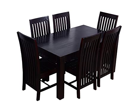 CK Handicrafts Solid Sheesham Wood 6 Seater Dining Table Set with Curvy Chair,Standard,Mahogany Finish Dining Tables