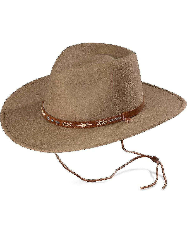e0bc66cbdd470 Stetson Men s Santa Fe Crushable Wool Hat  Amazon.co.uk  Clothing