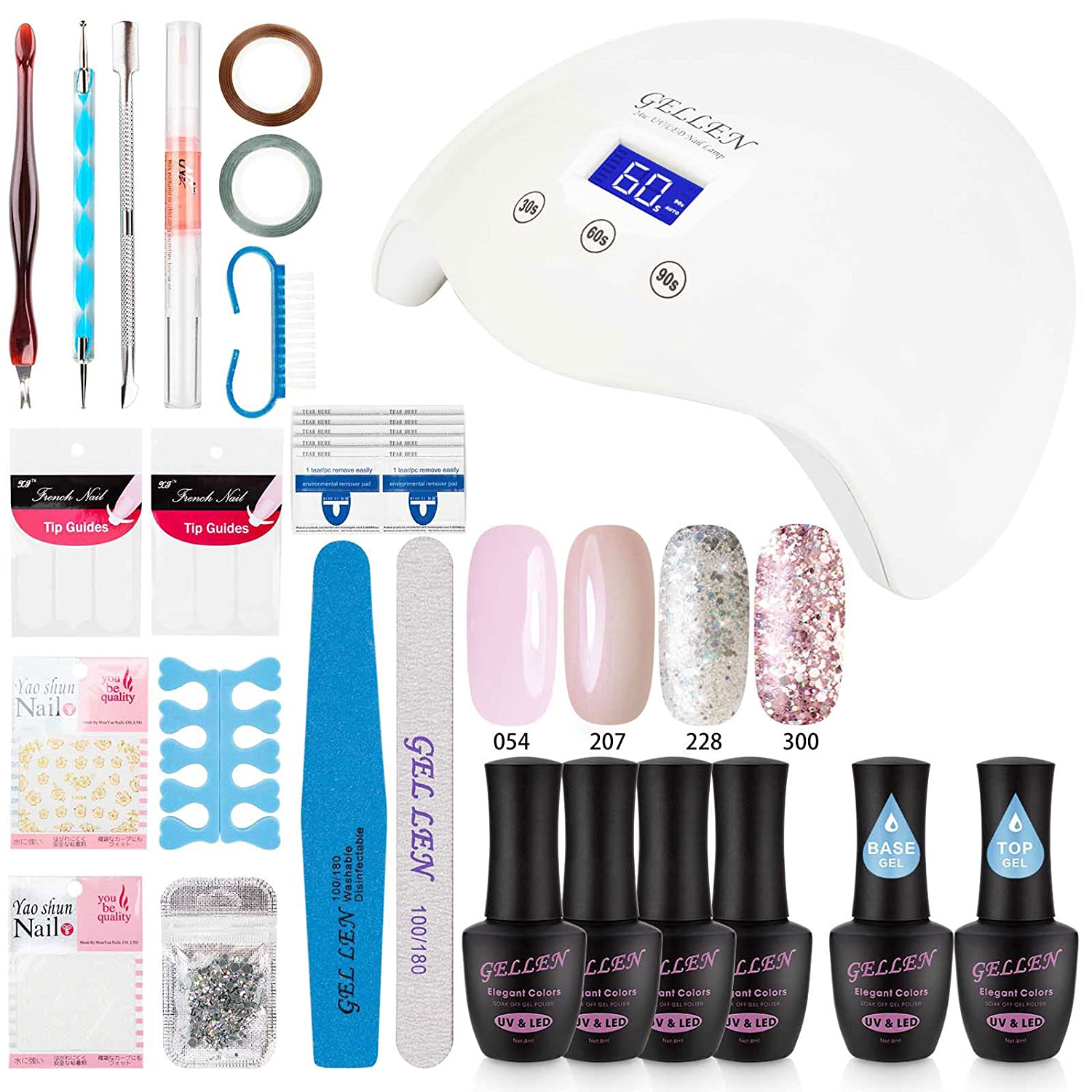 Gellen Gel Nail Polish Starter Kit with 24W LED lamp Base Top Coat, Manicure Tools Popular Nail Art Designs #1