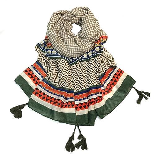 Chals Bufandas, Kanpola Mujer Moda Enrejado Ola Impresión Puntadas Bufanda Playa Envolver Largo Bufandas Estola Chal para Señoras