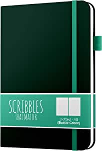 A5 Dotted Journal by Scribbles That Matter - Bullet Dot Grid Notebook - No Bleed Thick 160gsm Fountain Pens Friendly Paper - Hardcover with Large Inner Pocket - Pro Version - Bottle Green