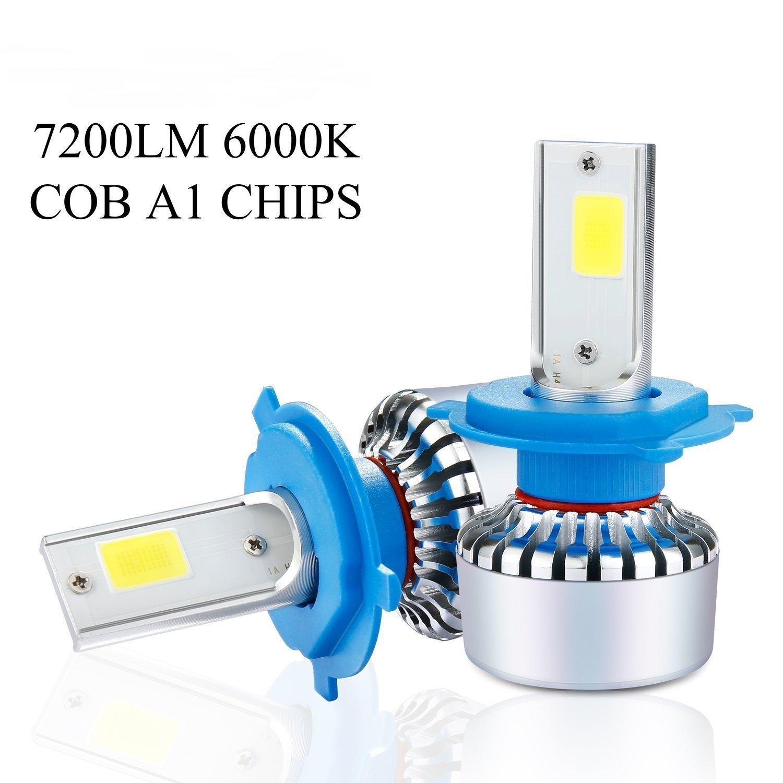 H7 60W LED COB bombillas para faros delanteros, A1 60 W 7200LM 6000 K Lámparas de luz Blanca Bombillas IP68 luz de cruce LED Kit de conversión con chip COB ...