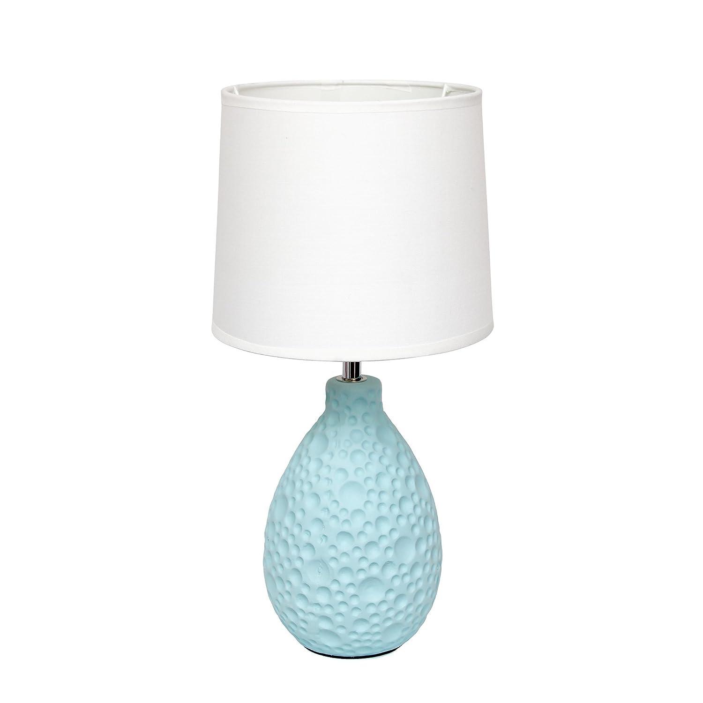 Simple table lamp - Simple Designs Lt2003 Blu Texturized Stucco Ceramic Oval Table Lamp Blue