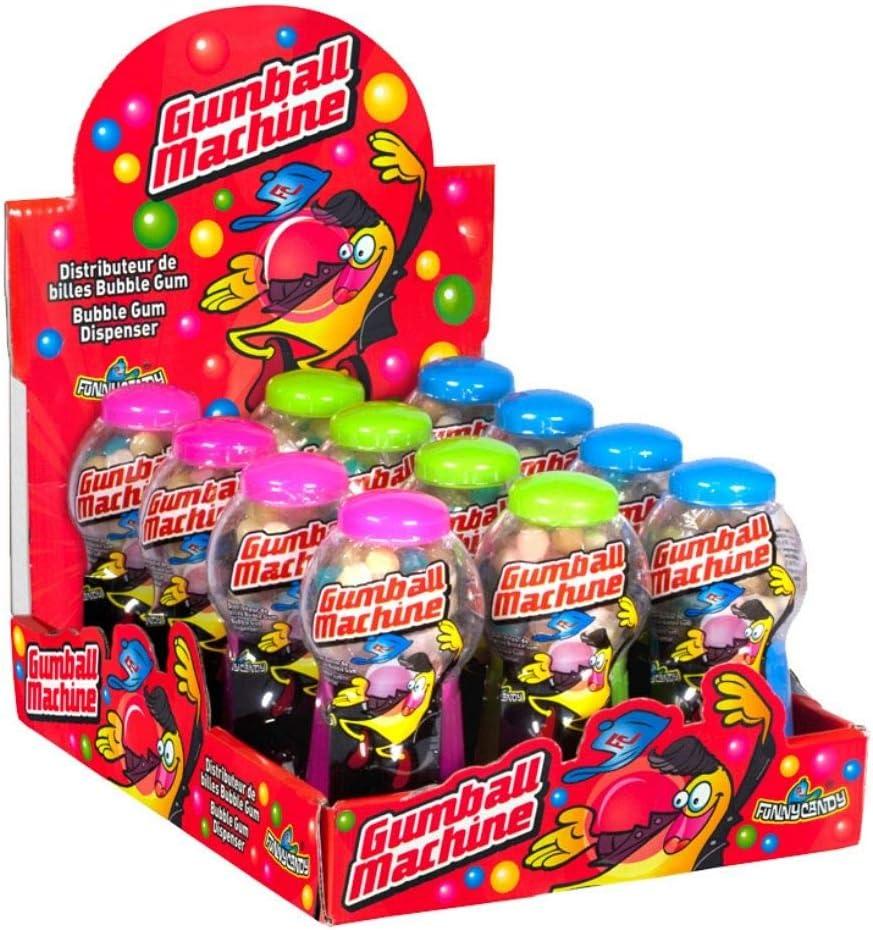 FunnyCandy Gumball Machine- Máquina Dispensadora De Bolas De Chicle- 3 Colores, Sabores Variados, 12 Unidades