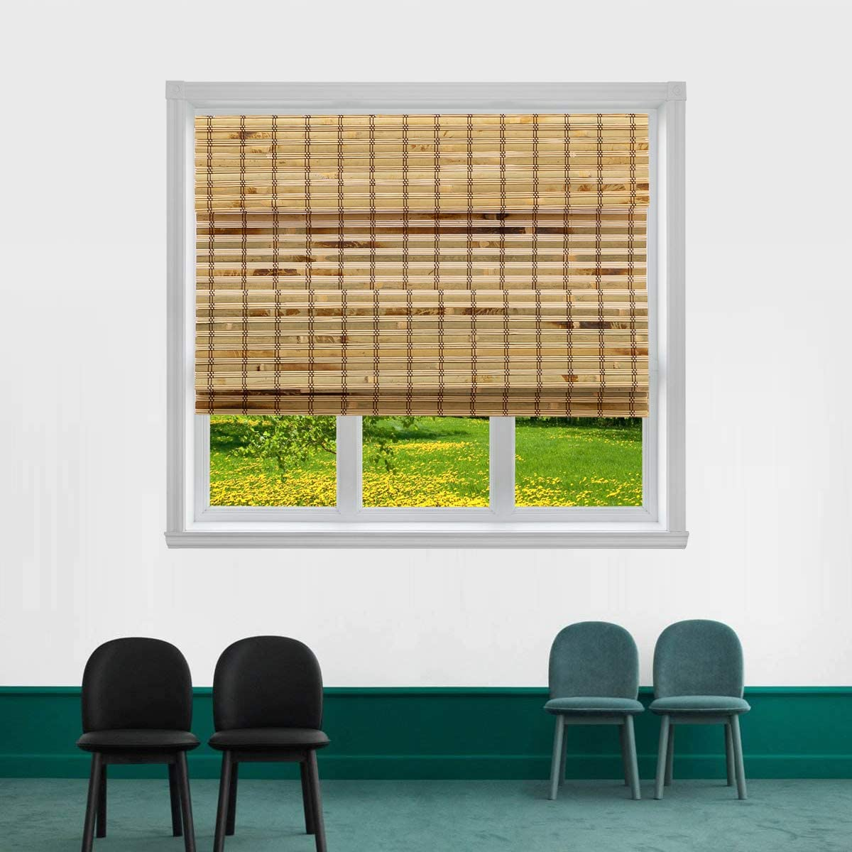 TJ GLOBAL Cordless Flatstick Bamboo Roman Window Blind Sun Shade, Light Filtering Shades with 7-Inch Valance – Light Bamboo 48 x 72