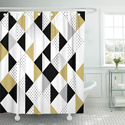 TOMPOP Shower Curtain Geometric Abstract Triangles Gold Black And White Pattern Modern Waterproof Polyester Fabric 72