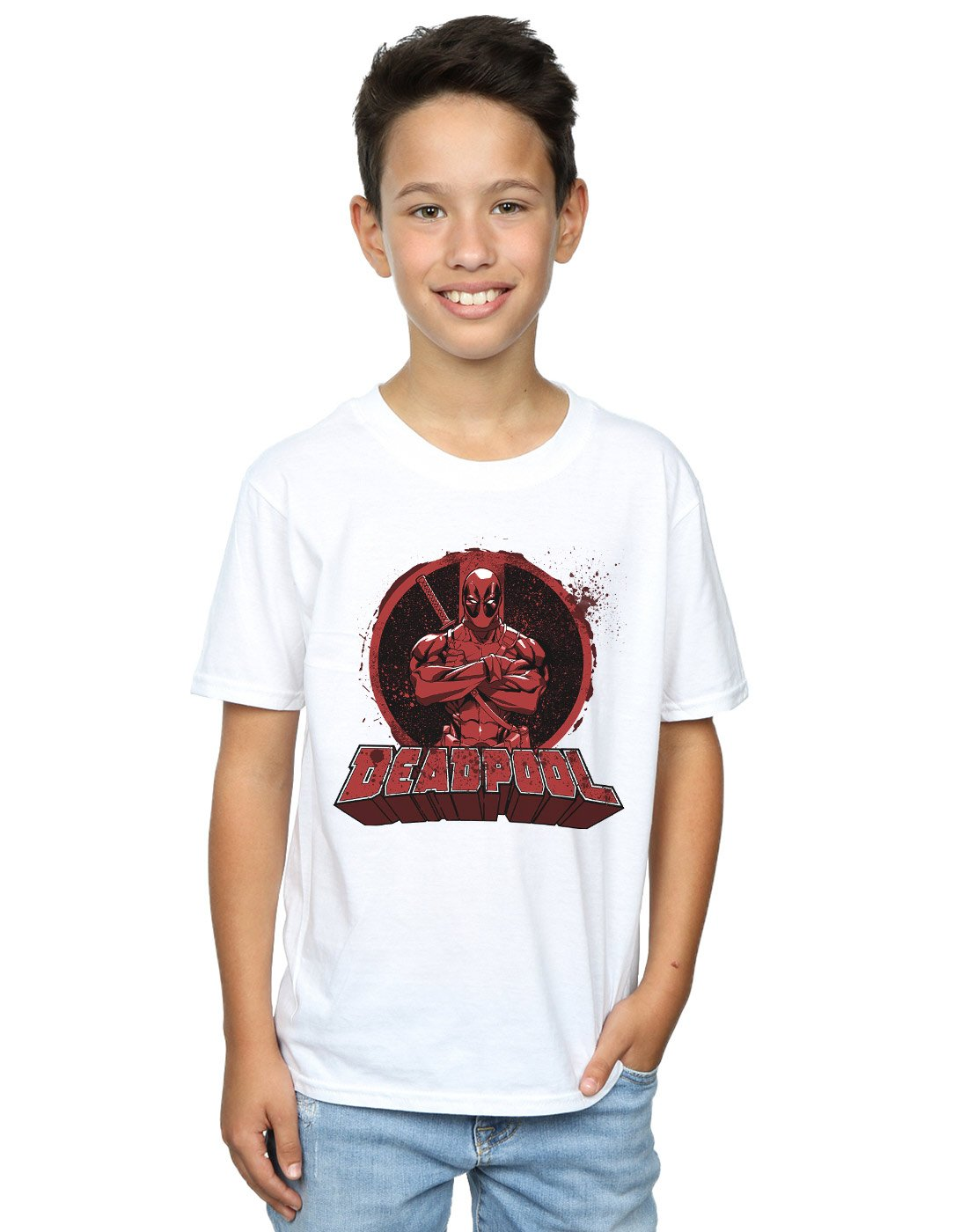 Marvel Boys Deadpool Crossed Arms Logo T-Shirt Absolute Cult