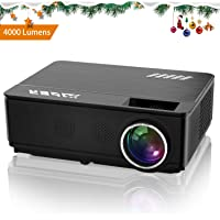 YABER Vidéoprojecteur 4000 Lumens 1080P Full HD Home Cinéma Projecteur LED avec Deux Haut-parleurs Stéréo (de Qualité HiFi - Haute-fidélité) et 3 Ventilateurs Intégrées, Compatible iPhone/Android/PC