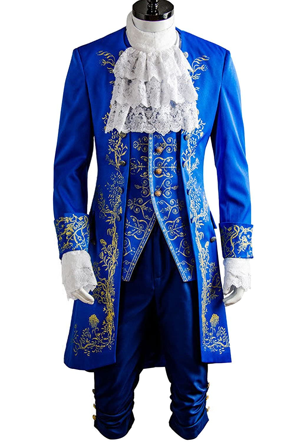 Sidnor Beauty and the Beast Prince Dan Stevens Blue Uniform Cosplay Costume Outfit Suit 2017 Live Action Movie