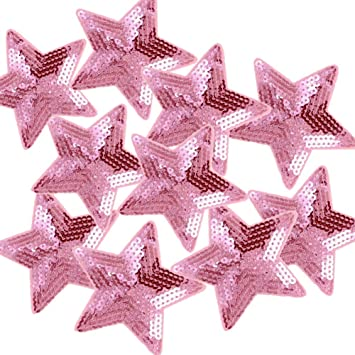 5 PCS SET PINK COLORED STAR~IRON ON EMBROIDERED APPLIQUE PATCH