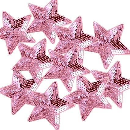 Amazon.com  Ximkee Pack of 10 Shiny 5 Star Sequins Sew Iron on ... 31db17ebf023
