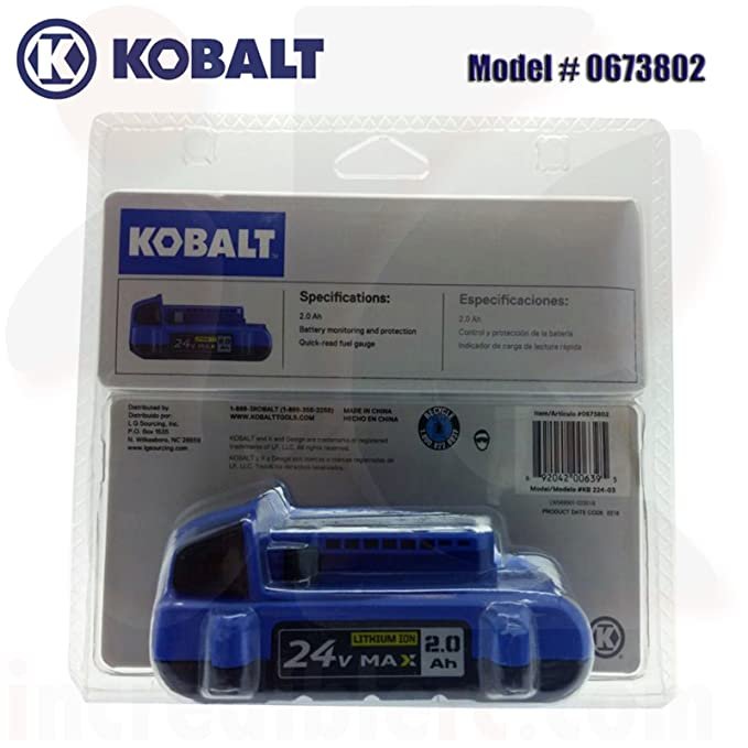 Amazon.com : 2PC New Kobalt 24-Volt 24V 2.0-Amp Hours Lithium Power Tool Battery # 0673802 .#GG4346 43ETR98-Y57448 : Garden & Outdoor