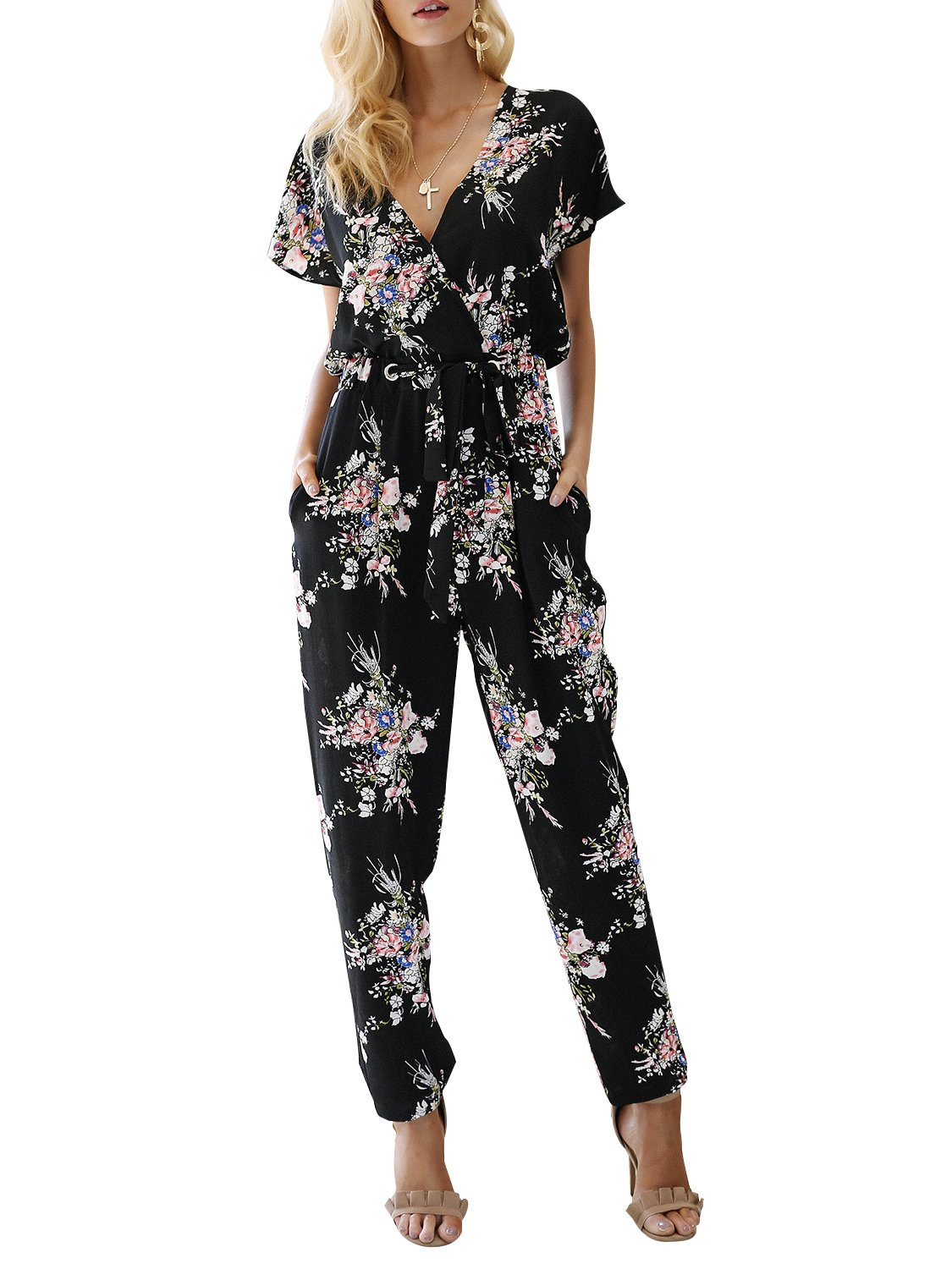 Missy Chilli Women's Floral Print Short Sleeve V Neck Wrap Jumpsuit with Tie Waist Black US 8/10