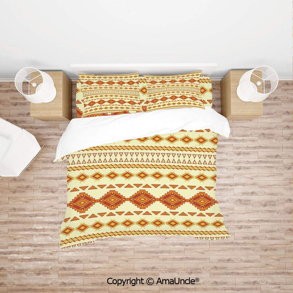 SCOCICI Pattern with Vintage Colors Ethnic Mexican Indigenous Culture Print Decorative 4Pcs Bedding Set Duvet Cover Set Bedding for Decoration
