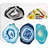 Resin Silicone Mould, Outgeek DIY Coaster Resin Casting Silicone Mould Irregular Coaster Mold Epoxy Resin Mold for DIY Resin Geode Agate Slice Coasters Jewelry Holders Dish Decorations (1PCS)