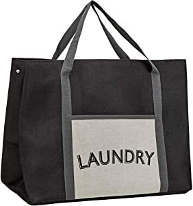 HOMEST Laundry Tote Bag, Large Heavy Duty Dirty Clothes Hamper, Storage Basket with Handles, Black