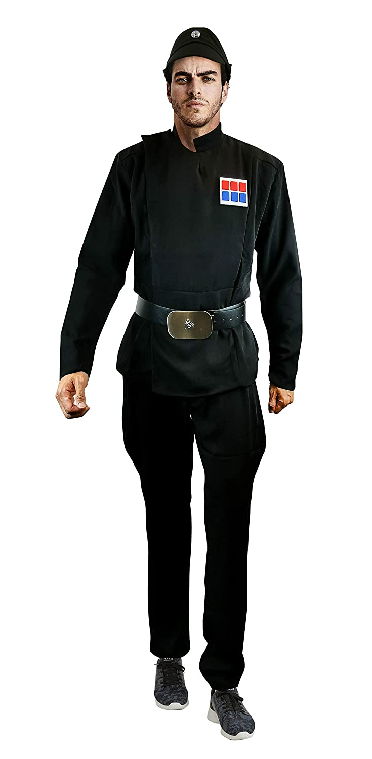Imperial Officer Black Uniform Belt Cap Rank Pad Costume Set Star Wars