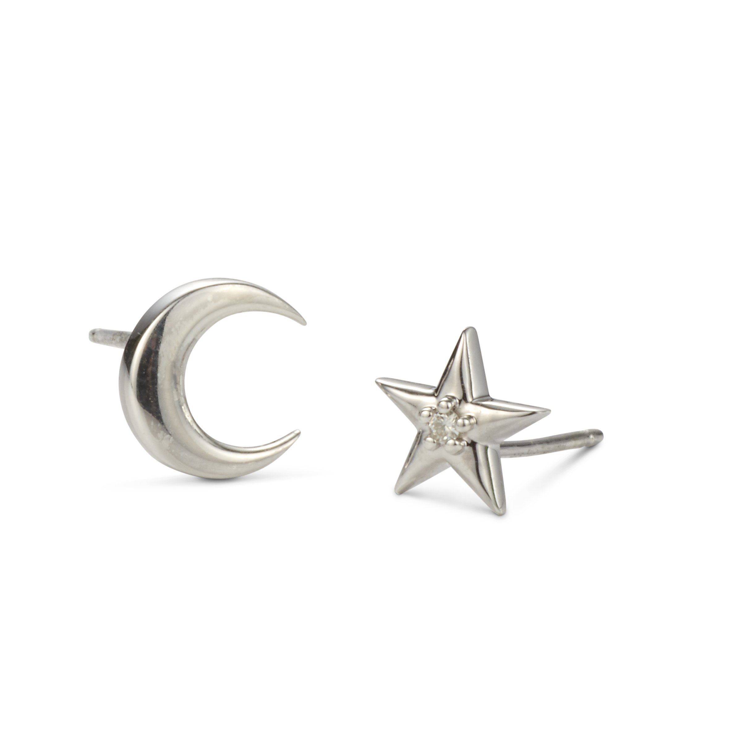 Forever Classic Moissanite Moon and Star Stud Earrings by Charles & Colvard