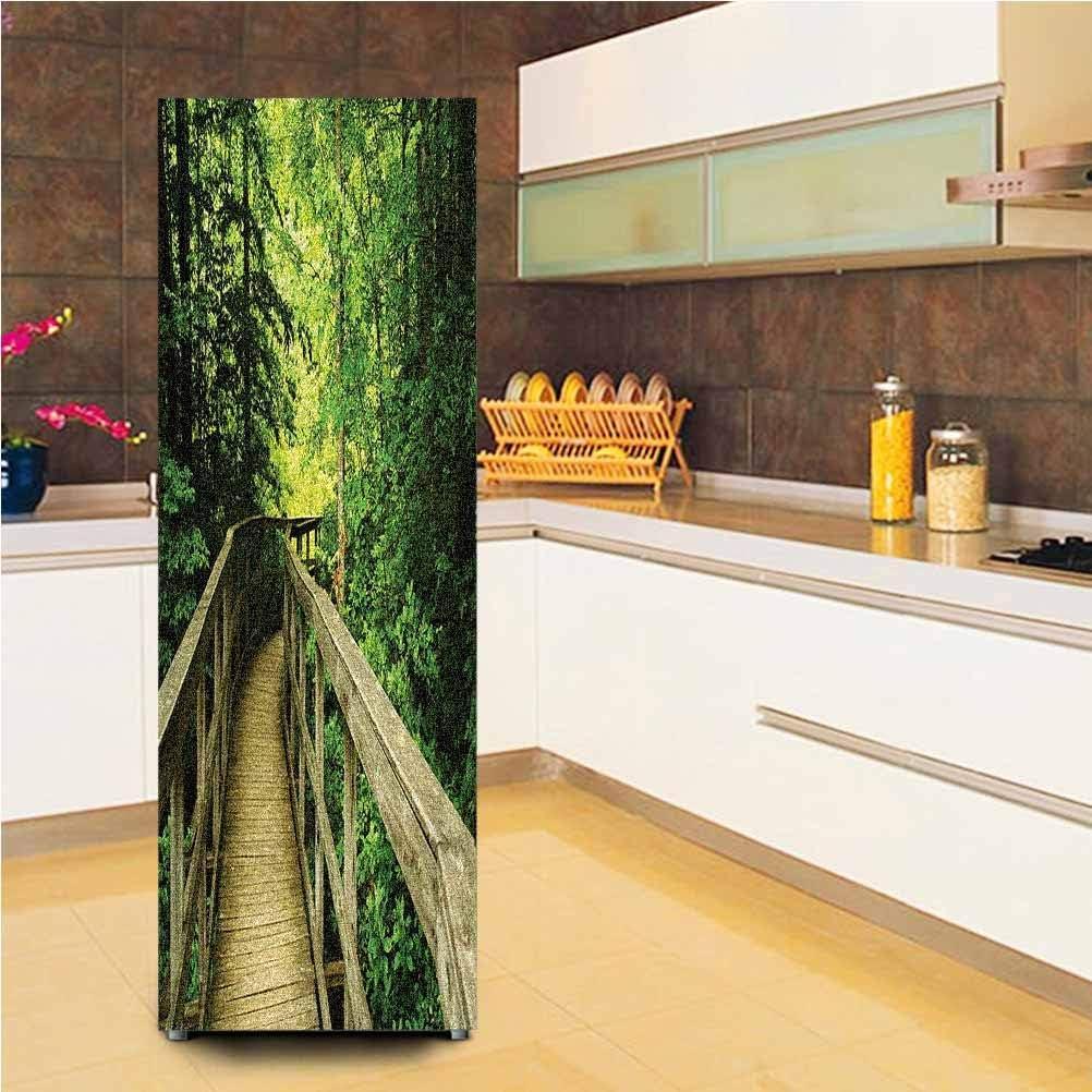 "3D Door Fridge DIY Stickers,Park Summertime Scenic View Environment Ecology Nature Holidays Adventure Scene Vinyl Door Cover Refrigerator Stickers,24x59"",for Refrigerator,Khaki Green"