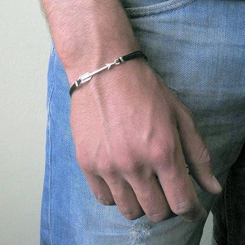 Amazon Com Mens Silver Arrow Black Cord Bracelet Handmade