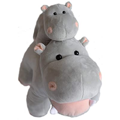 EH Exceptional Home Hippo Stuffed Animals Oh So Soft Plush Mother Baby Hippos Hippopotamus Toy Set: Toys & Games